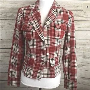 Forever 21 Blazer M Plaid Lined Retro Vintage Red